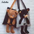 2016 New Arrival Fashion  Cute Animal Many Colors Plush Toy Bear Soft Shoulder Bags Big Size For Women Gift