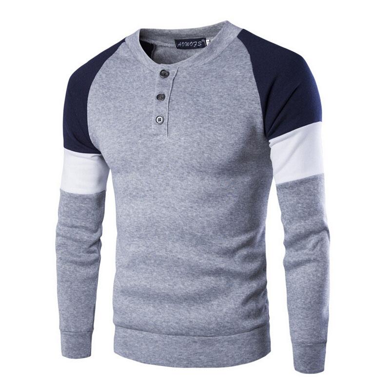 2016 Spring Fashion New Patchwork Color Hoodies Sweatshirts Men Casual Fleece Clothing Design O-neck Sportswear Tracksuit Coat