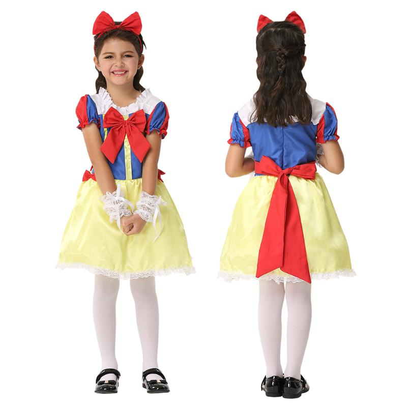 Halloween Cosplay Girls Princess Snow White Costume Carnival Party Dress with Cute Headwear 2017 Winter Kids Children Clothing
