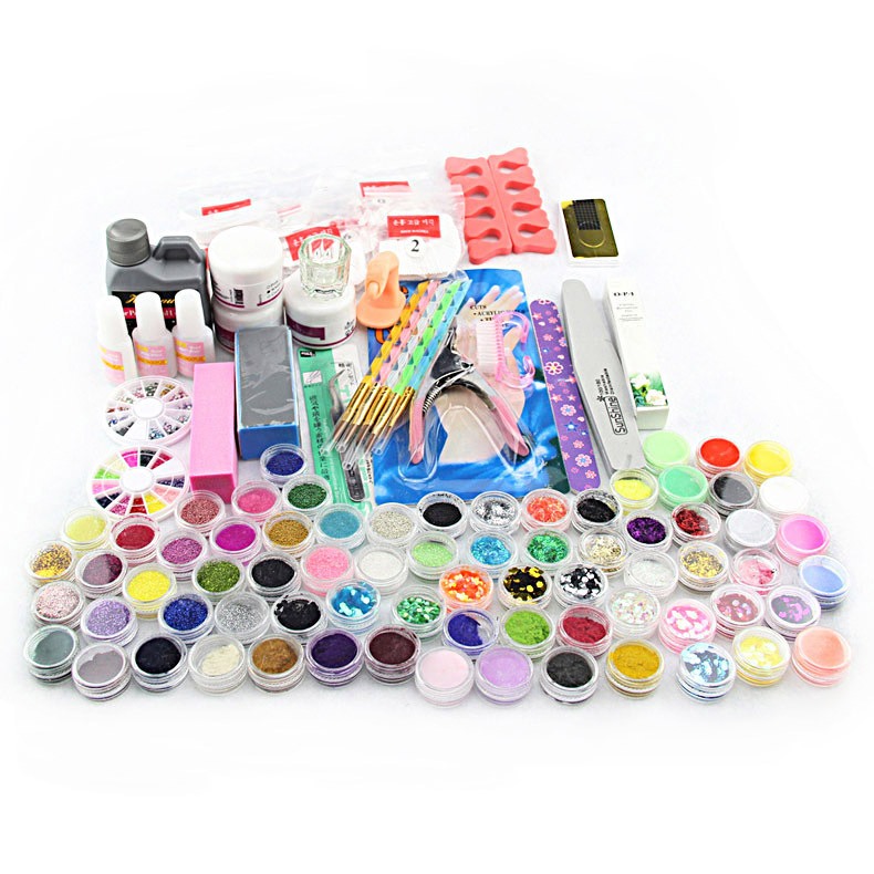 2016 Manicure kit Acrylic Powder Liquid Brush Glitter Tweezer Primer File False Nail Art Set Tips Polish Brush Set