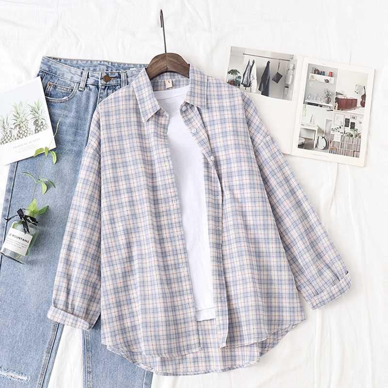 綿 100% の女性のブラウスとシャツチェック柄ボタンルースオフィス女性カジュアルシャツ生き抜くトップス