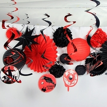 set of 16 black red halloween decoration kit paper lanterns fans pinwheels tissue pom poms spooky foil swirls halloween party