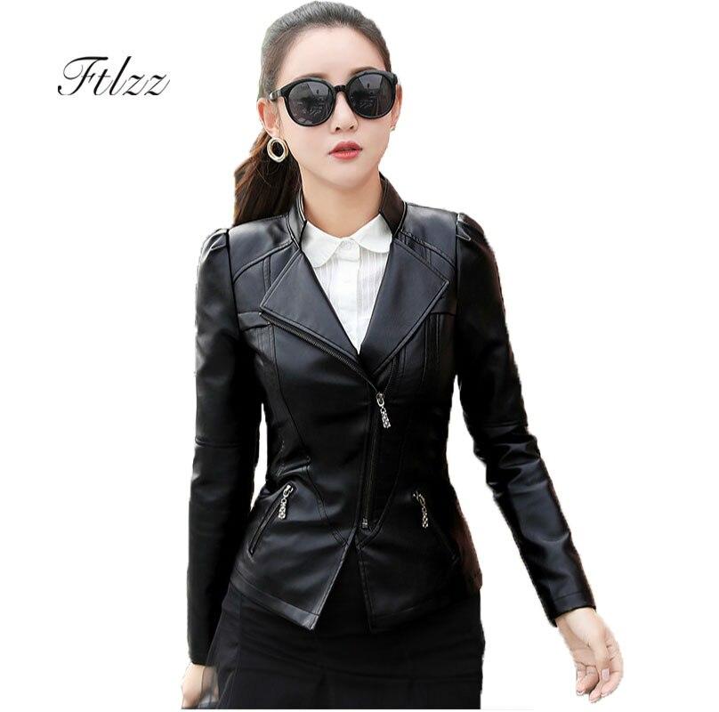 Plus Size 5xl 6xl   Leather   Jacket Women Black Jacket 2018 New Spring Autumn Female Long Sleeve Zipper Biker Moto   Leather   Jackets