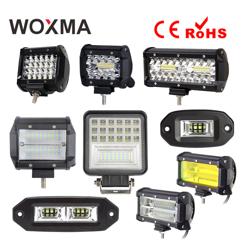 LED Light Bar 18W Work Light 4X4 12V 60W Offroad Motorcycle 72W Car Fog Lamp 4inch 6000K White Yellow 4WD Auto Accessories WOXMA