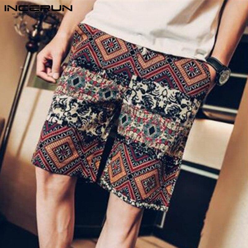 INCERUN 2018 Summer Ethnic Casual Shorts Men Floral Print Cotton Pockets Knee Length Male Shorts Loose Beach Bermuda Plus Size