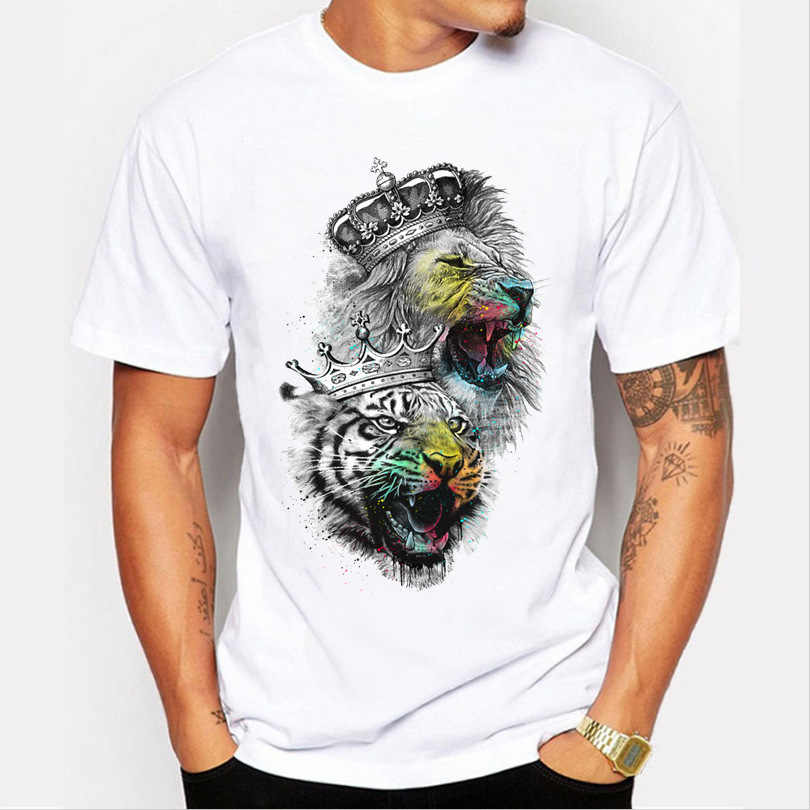 Men Tops 2019 Summer Crown Lion 3D White Men's T-shirt Fashion Animal Print T-Shirt Men Casual Short-Sleeve Tee Shirt Homme 4XL