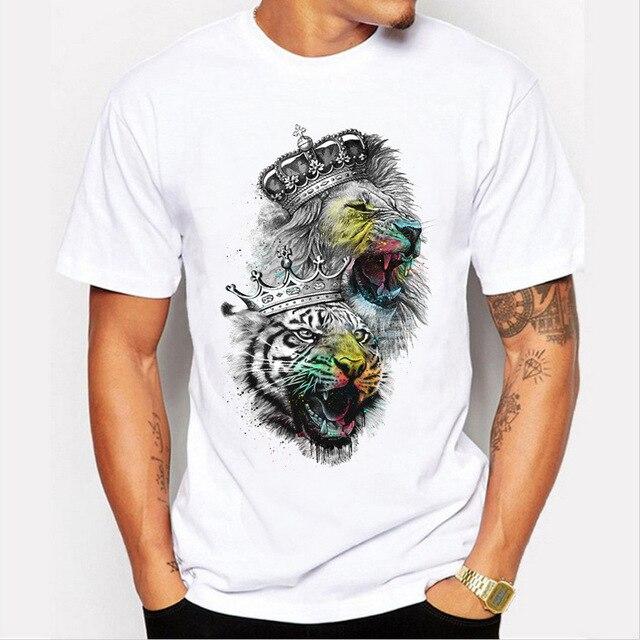 Mężczyźni topy 2019 lato korona lew 3D biały męska koszulka moda zwierząt drukuj koszulka męska na co dzień z krótkim rękawem koszulka Homme 4XL