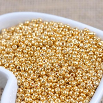 16g 1000pcs 2mm 12/0 Gold Golden Tone Color Loose Spacer Beads Cezch Glass Seed Bead Handmade Jewelry Making DIY Garment - discount item  11% OFF Arts,Crafts & Sewing