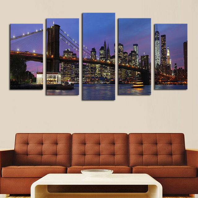 2017 Paintings Fallout Unframed 5 Panels Modern City Picture Canvas Print Painting Artwork Wall Art Wholesale For Home Decor