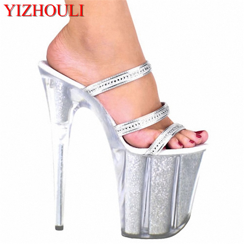 Ultra 20CM Crystal Platform Shoes High Heel Sandals Silver Glitter Model Shoes Fashion 8 Inch Platforms Slipper 20cm unusual high heel shoes silver 8 inch high heel gladiator sandals crystal platform slippers made in china sexy rome shoes