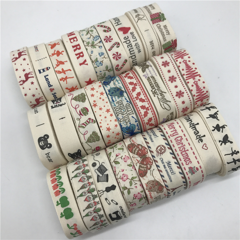 """5Yards 15mm Multi Design """"Handmade"""" Printed Cotton Lace Ribbon Sewing Fabric Wedding Decoration Gift Wrapping Christmas Ribbon"""