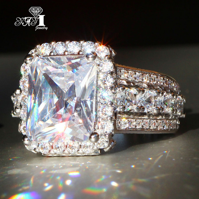 YaYI Jewelry Fashion  Princess Cut 7.9  CT White Zircon Silver Color Engagement Rings wedding Rings Party Rings