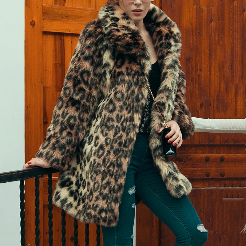 faux fur coat For Woman Fashion Long Model Leopard Printing Pattern Slimming Fur Imitation Overcoat for Autumn and Winter Aug25