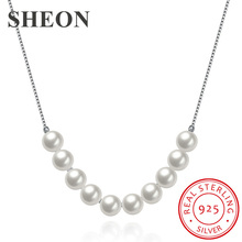 цена SHEON Authentic 925 Sterling Silver Simple Pearl Necklaces Romantic Trendy Clavicle Chain For Women Sterling Silver Jewelry в интернет-магазинах