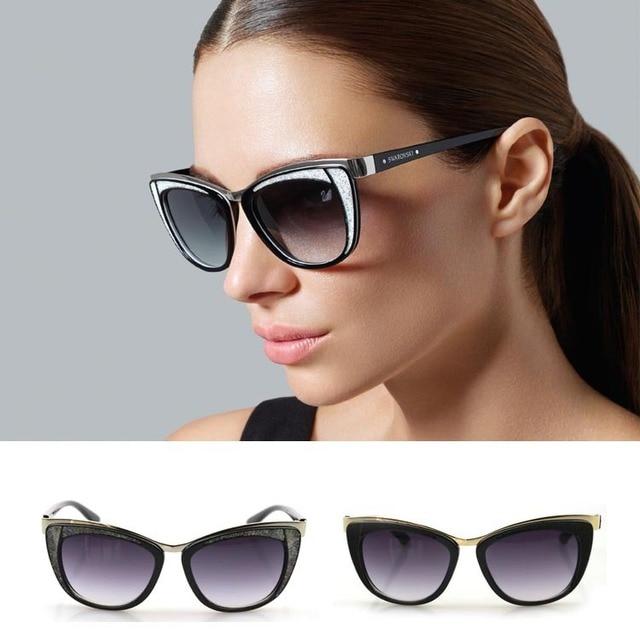2015 new diamond cat eye sunglasses women crystal sun eyewear frames brand design sun glasses fashion