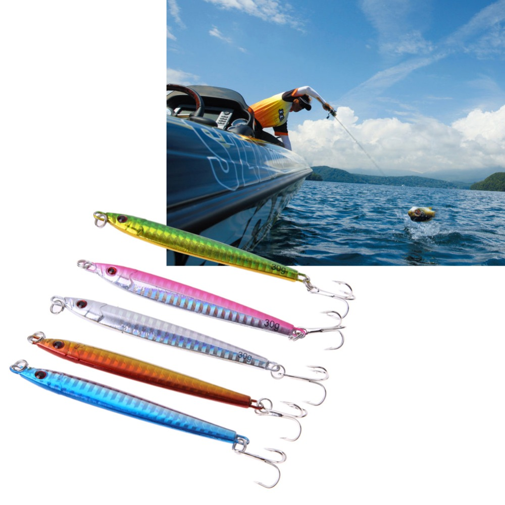 5pcs lot 30g fishing lure lead casting jig slice spinning for Jig fishing lure