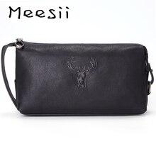 Meesii Mens Leather Handbag Leisure Makeup Bag Cell Phone Reception with Mezzanine Retro Deer Head Zipper Package