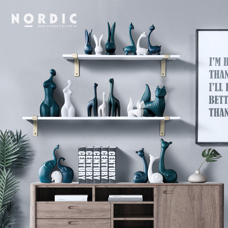 Nordic White Blue Ceramic Deer Elephant Figurines Home Decoration Crafts Livingroom Desktop Animal Ornaments Modern Wedding Gift