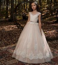 New Champagne Sequined Flower Girls Dresses Scoop Long Girl Kids Pageant Gown