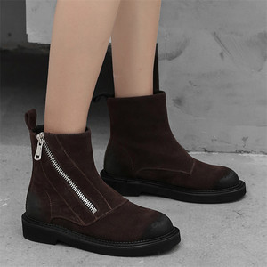 Image 4 - FEDONAS inek süet yarım çizmeler kalın topuklu sonbahar kış kısa bayanlar ayakkabı kadın en kaliteli motosiklet botları bayanlar temel botları