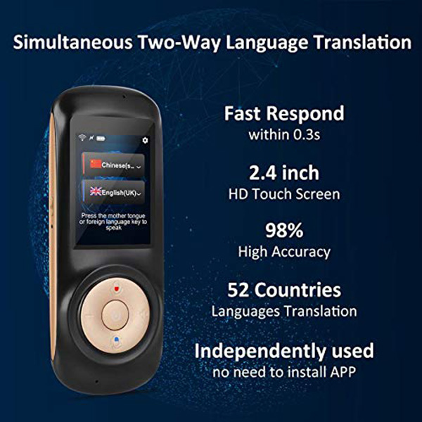Instant Voice Language Translator Device,Smart Two Way WiFi 2 4inch  Touch-Screen Portable Translation for Learning Travel Busi