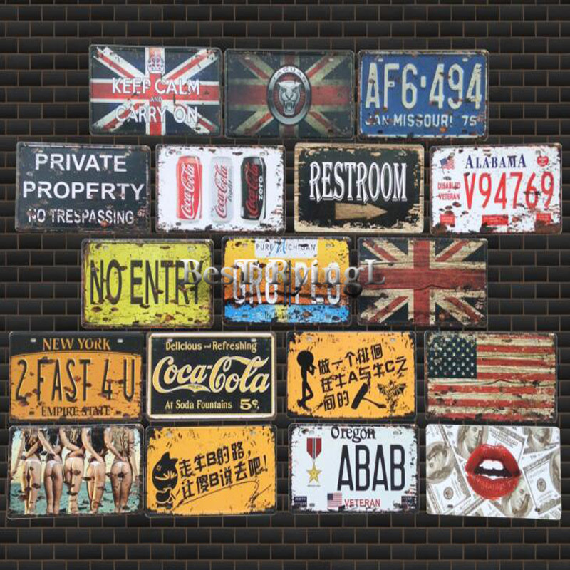 2pcs Vintage Metal Tin Signs Route 66 Car Number License Plate Plaque Poster Bar Club Wall Garage Home Decoration 16*30cm