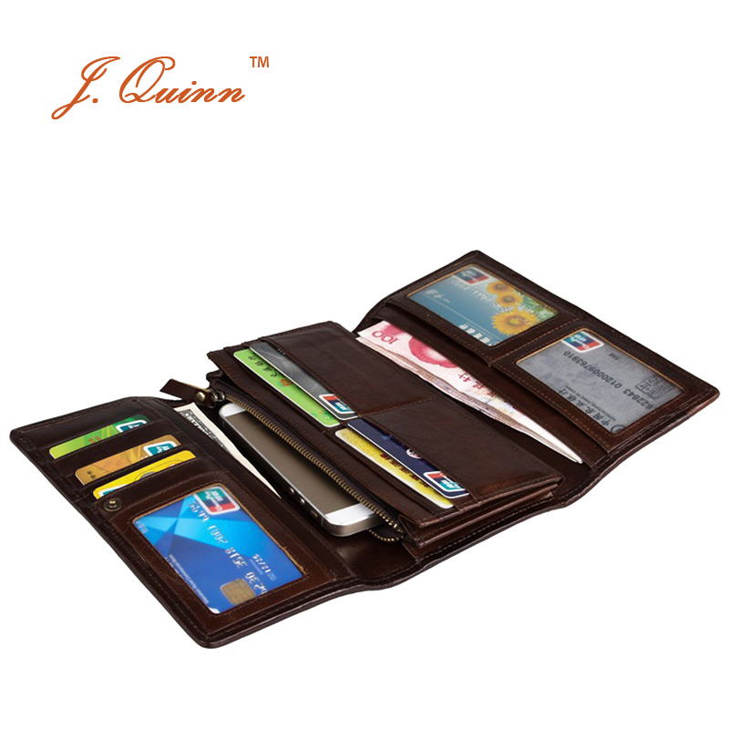 J.Quinn Trifold Women Clutch Wallets Genuine Leather Grain Ladies Wallet Evening Purse 11 Cards 3 Photo ID Holder for Womens New never leather badge holder business card holder neck lanyards for id cards waterproof antimagnetic card sets school supplies