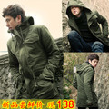 Military spring and autumn outerwear frock male slim with a hood medium-long trench casual Army Green overcoat casual