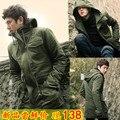 Vestido militar primavera e outono outerwear masculino slim com capuz de médio longo trincheira exército verde casaco casuais