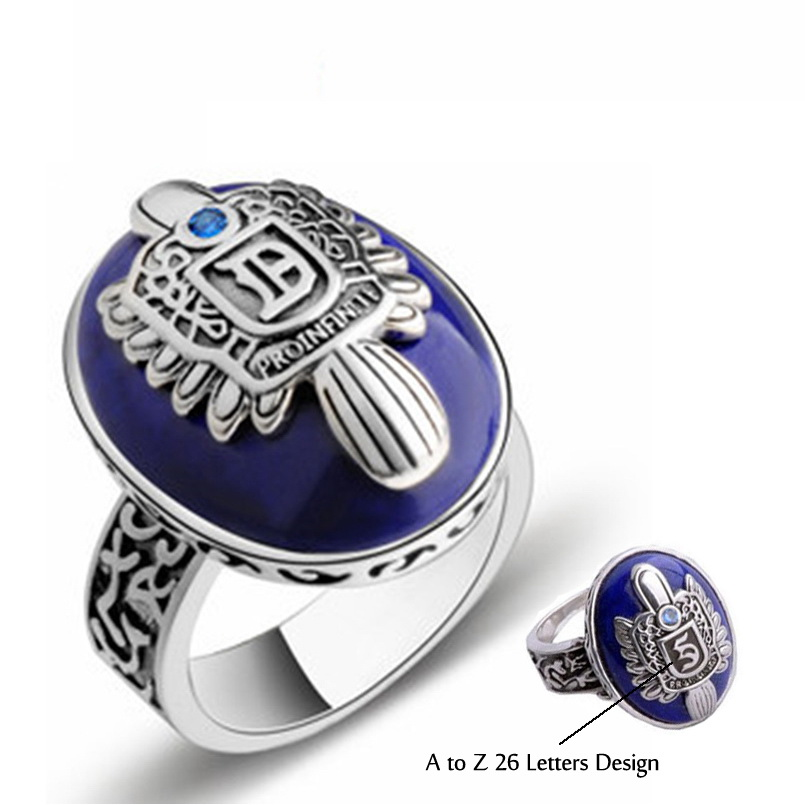 Sterling Silver Of The Vampire Diaries Ring 925 Silver Letter A-Z 26 Designs Rings Fine Natural Lapis Lazuli Blue Crystal Ring the realm of clans anime ling yu qinlie 925 sterling silver ring comics cartoon