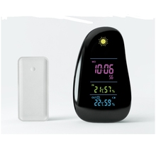 Wireless Weather Station Alarm Clock Digital Cobblestone Shaped LED Indoor Outdoor Temperature Humidity Meter With Remote Sensor
