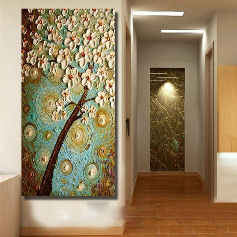 Home Large Wall Art Pictures Hand Painted Abstract Knife White Flowers Oil Painting Handmade Acrylic Floral Paintings On Canvas