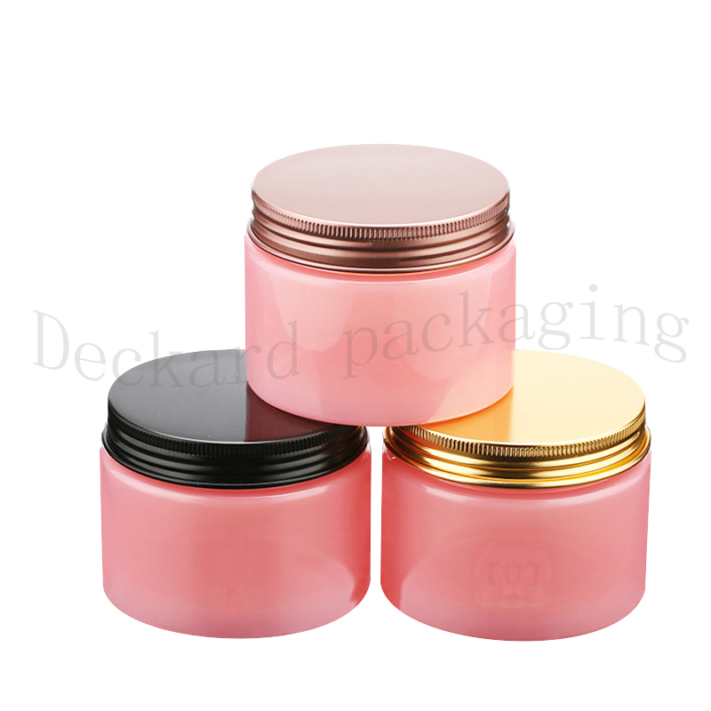 20pcs lot 200g Empty Amber Cream Cosmetic Jar Pink PET Conatiner Silver gold bronze pink black