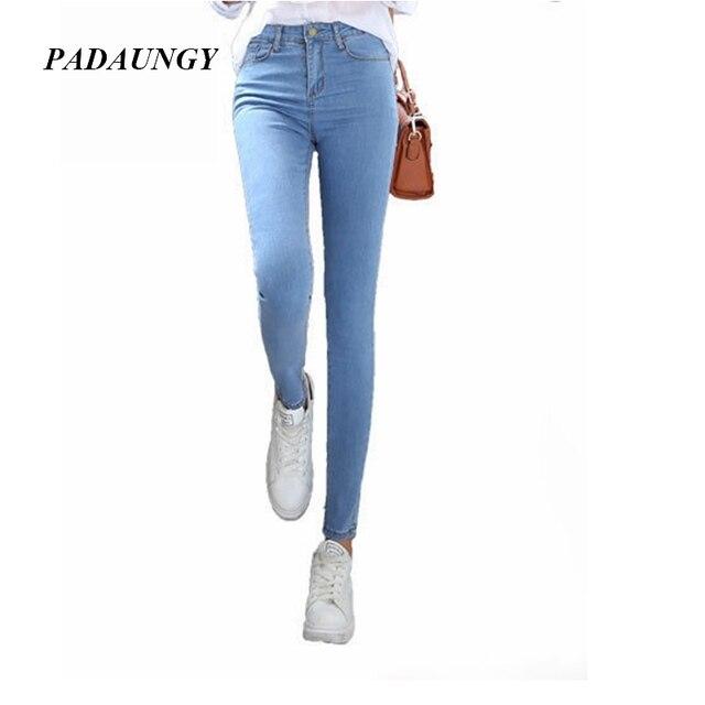 98becadc69b20 PADAUNGY Women Pencil Jeans High Waist Jeggings Skinny Denim Pants Slim Fit  Pantalon Jean Femme Plus Size Ankle Length Jegging