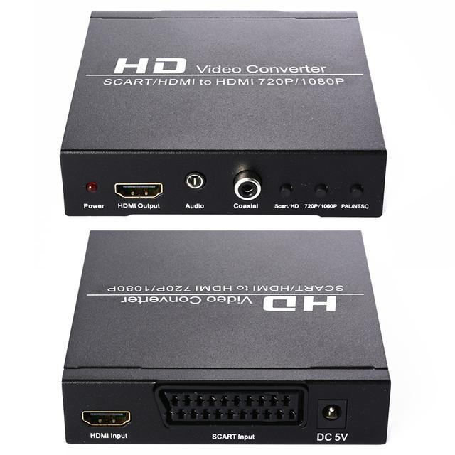Hd vídeo konverter wandler adaptador scart hdmi 1080 p conversor de áudio koaxial ue plug ah035