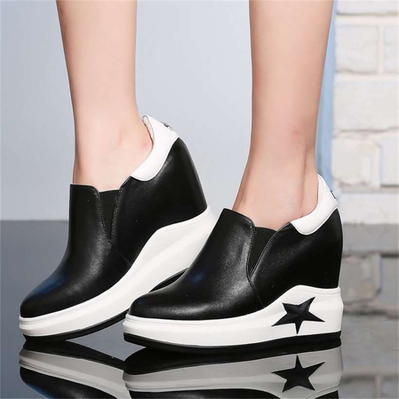 NAYIDUYUN      Women Silp On Cow Leather High Heel Wedge Platform Party Sneaker Shoes Low Top Evening Pumps Casual Oxfords Shoes