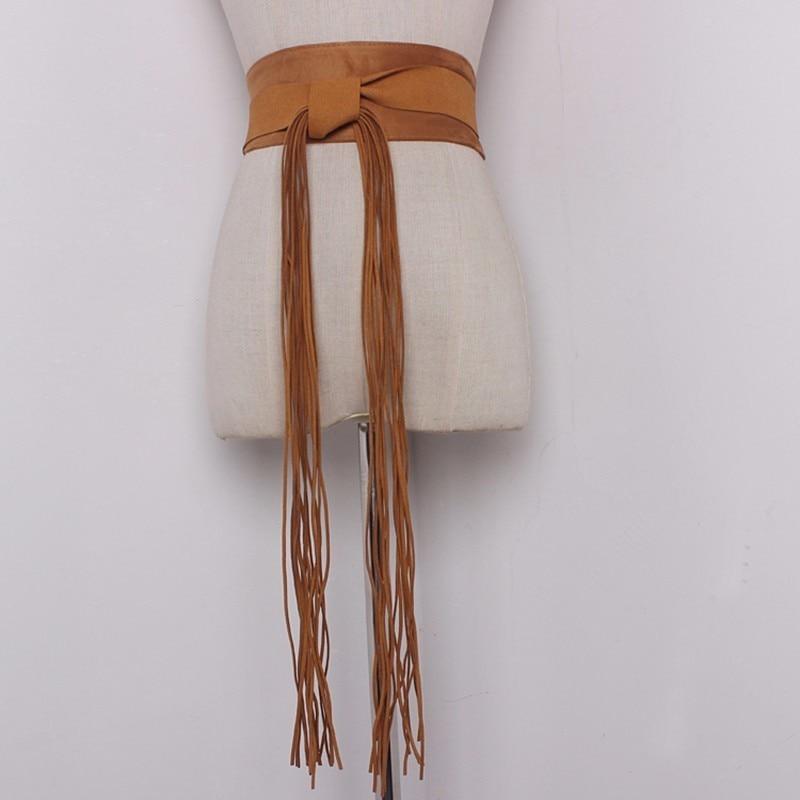 TWOTWINSTYLE Women Synthetic Leather Tassel Belt Corset Ladies Vintage Wide High Waistband Girls 2020 Fashion Cummerbund