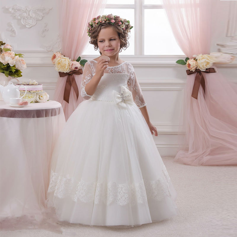 2017 Hot Sale Long Sleeve Lace Bow Ball Gown Holy Communion Flower Girl Dresses For Wedding Little Girls Party Gown FH97