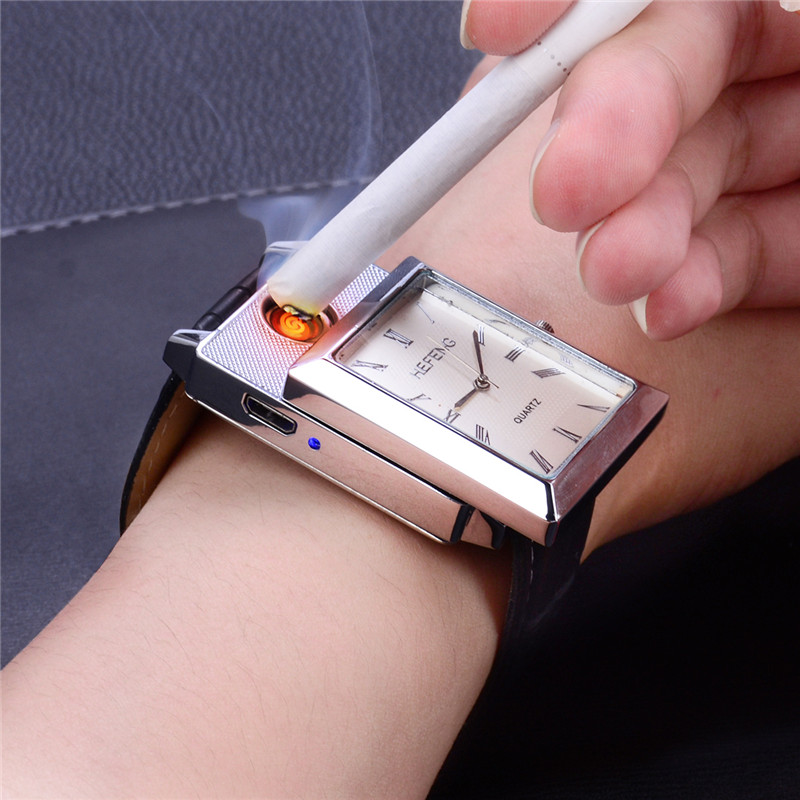 CkeyiN Rechargeable Flameless USB Lighter Watches Fashion relogio masculino Cigarette Lighter Men's Quartz Wristwatches 5052 lighter watch men s sports casual quartz watches with leather strap windproof flameless cigarette lighter usb charging f665