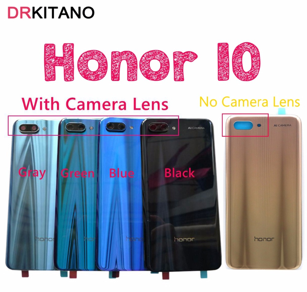 Huawei Honor 10 Back Battery Glass Cover Panel  Honor10 Rear Door Case For Huawei Honor 10 Back Cover Housing With Camera Lens(China)