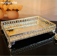 Rectangle Decorative Crystal Tray Serving Tray Glass Fruit Kitchen Storage for Food Decorative Home Storage & Organization Tools