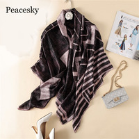 Peacesky Brand Women's Fashion Silk Feeling   Scarf   Square   Scarves   Shawl   Wrap   High Quality Print Beach   Scarves   Size 140*140CM