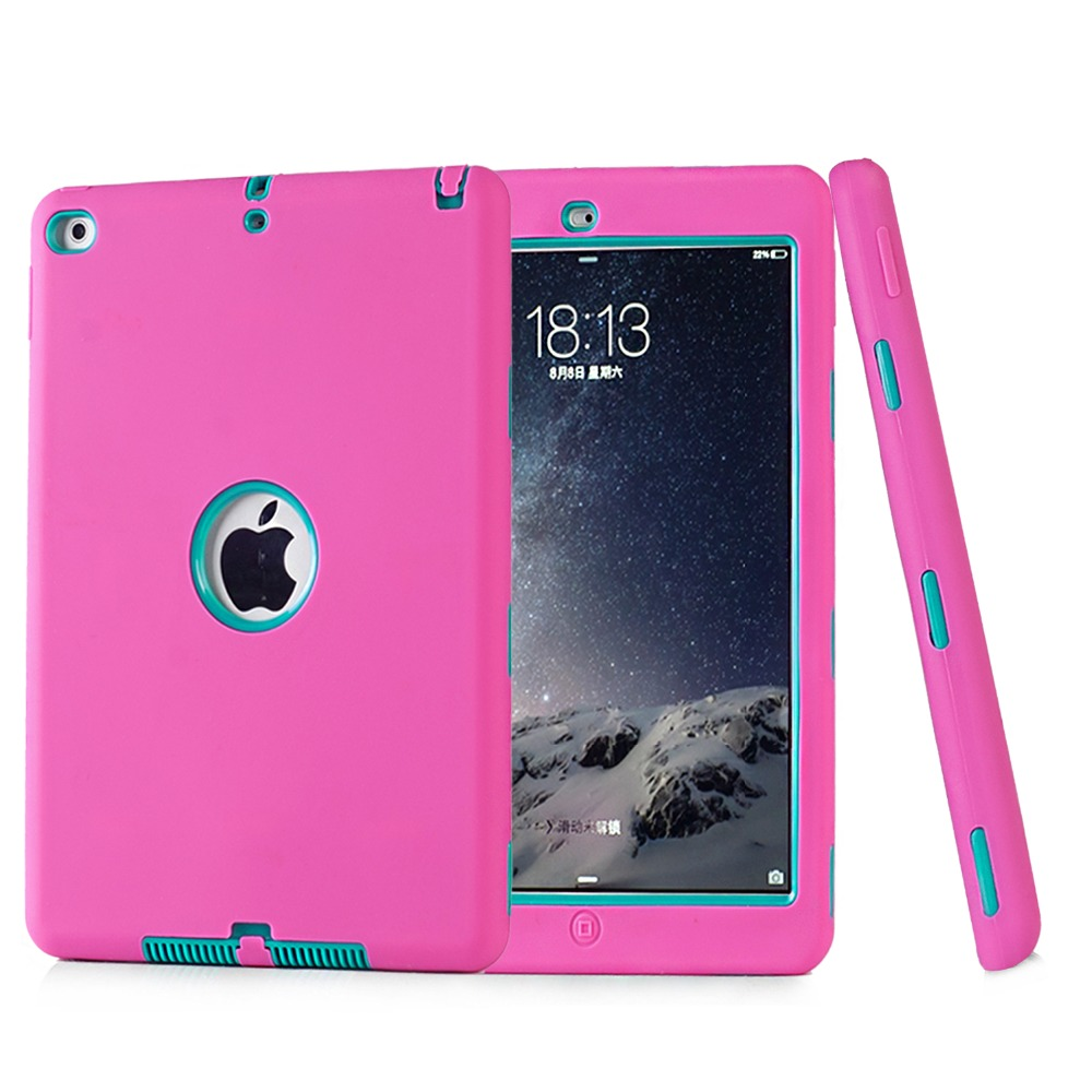 Fashion Shockproof Dropproof Kids Baby Protector Cover PC + Soft Silicone Robot Protect Case For apple iPad Air 2 Shell