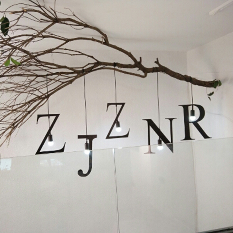 Simple English lamp art personality cafe, restaurant, wrought iron bar LED lamps and lanterns bedroom letters droplight