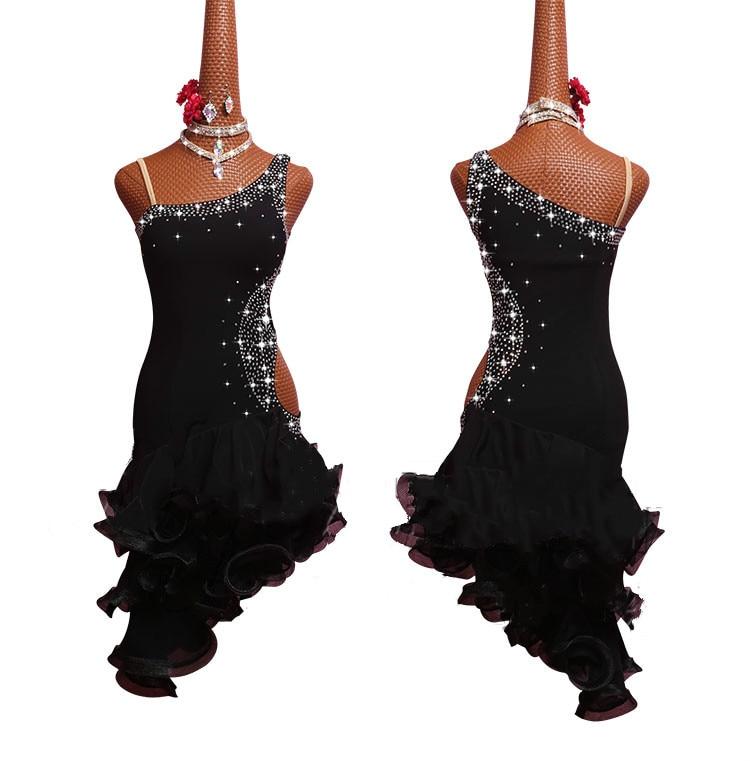 Rhinestone Lady Performance Dress Women Latin Dance Clothes Senior Stones Tassel Latin Dance Dress For Girls Latin Dance Dresses