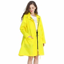 Womens Stylish Solid Yellow Rain Poncho Waterproof Raincoat with Hood and Pockets