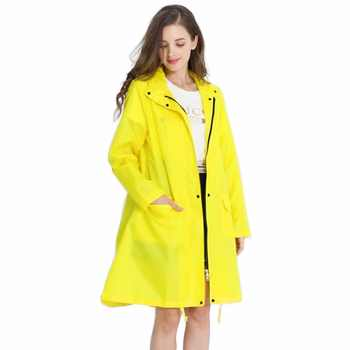 Womens Stylish Solid Yellow Rain Poncho Waterproof Raincoat with Hood and Pockets - DISCOUNT ITEM  45% OFF All Category