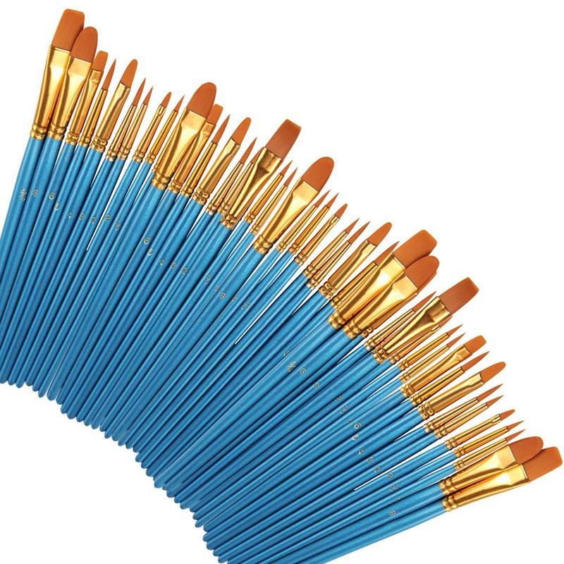 Paint Brushes 50 Pcs,Nylon Hair Brushes Set Blue Round Pointed Paints Brush For Watercolor Oil Painting