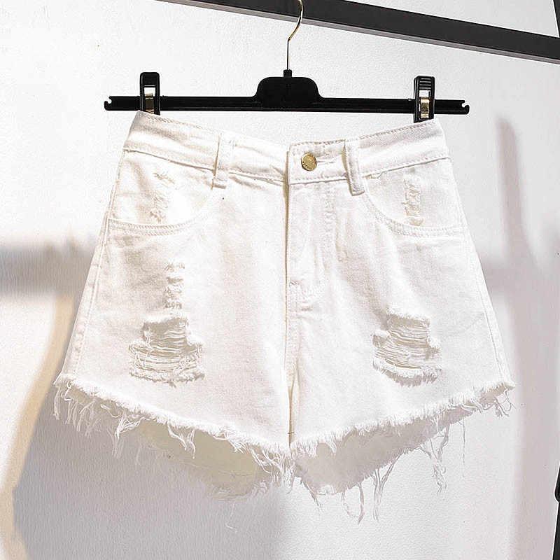 Letnie spodenki damskie Plus rozmiar 2019 moda nowe złamane dziura wysokiej talii kobiece spodenki jeansowe cienkie luźne panie krótkie spodnie JIA218