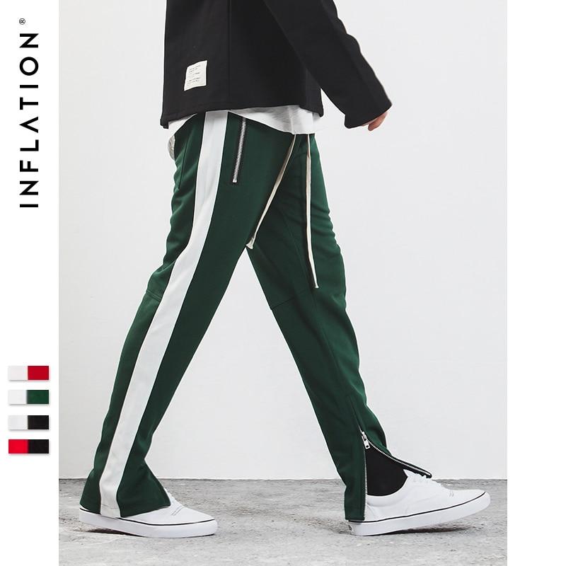INFLATION 2017 New Autumn Mens Sportswear Pants Side Stripe Zipper Men Campus Style Sweatpants Elastic Waist